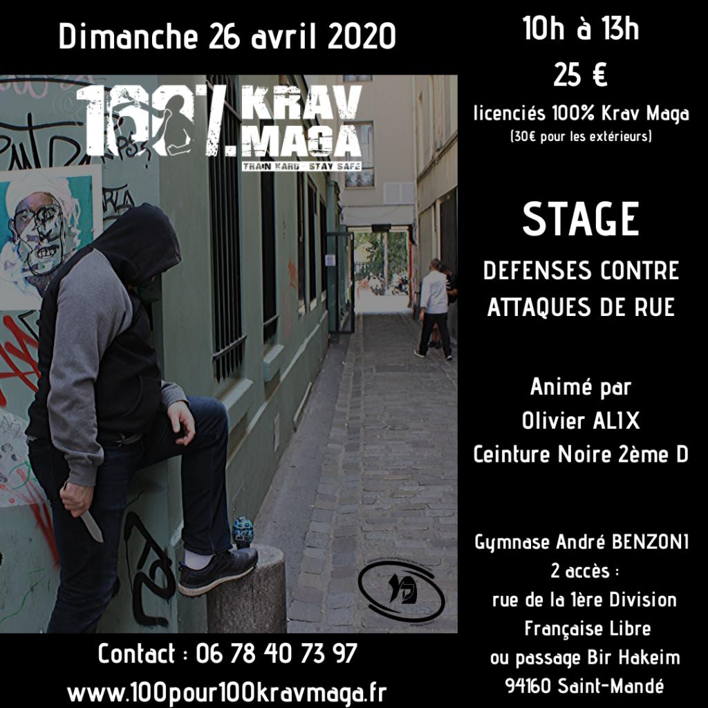 Stage 100% Krav Maga le 26 avril 2020