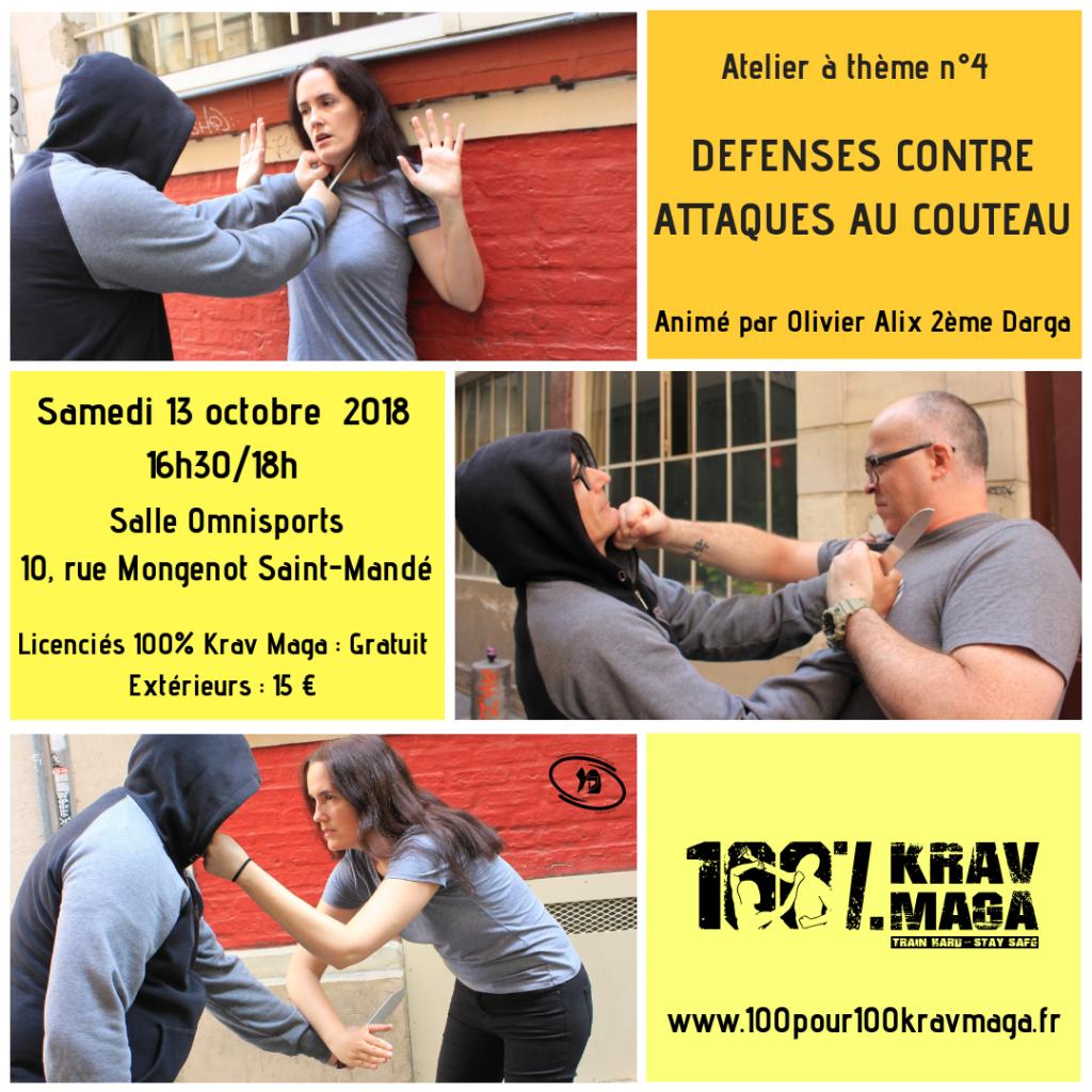 Flyer Atelier à Thème Défenses contre Attaques au Couteau