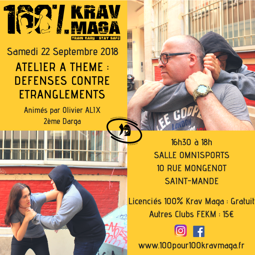 Atelier 100% Krav Maga n°1 : Défenses contre Etranglements