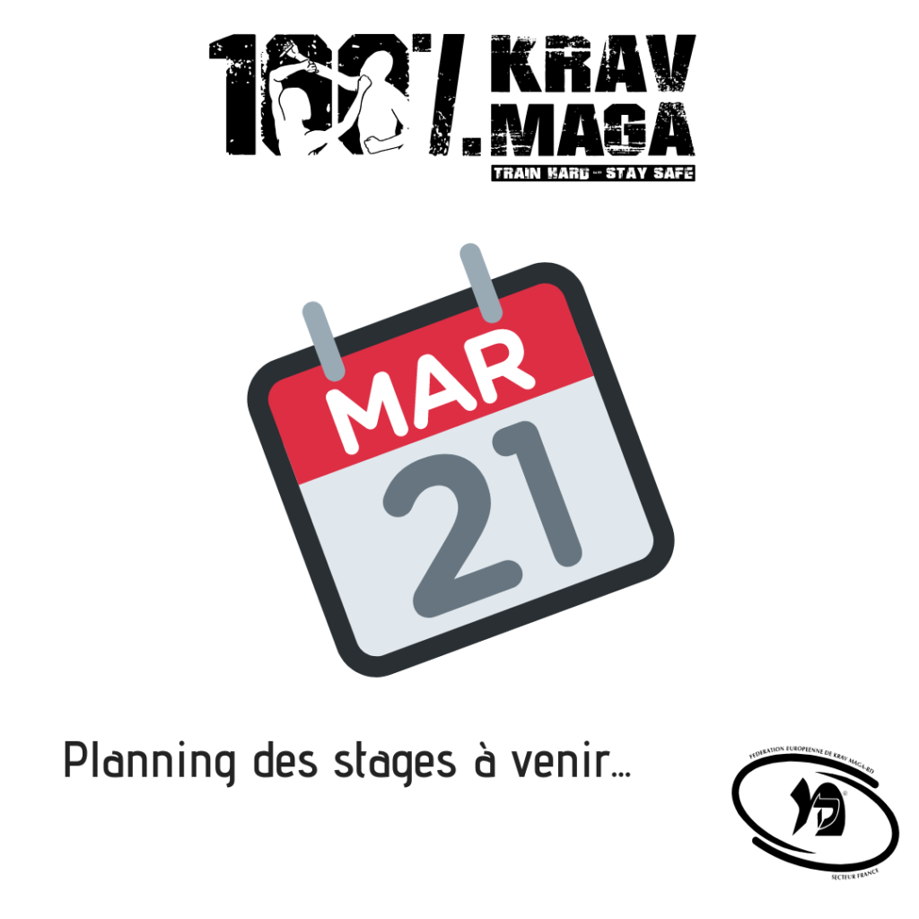 Planning des stages à venir 100% Krav Maga