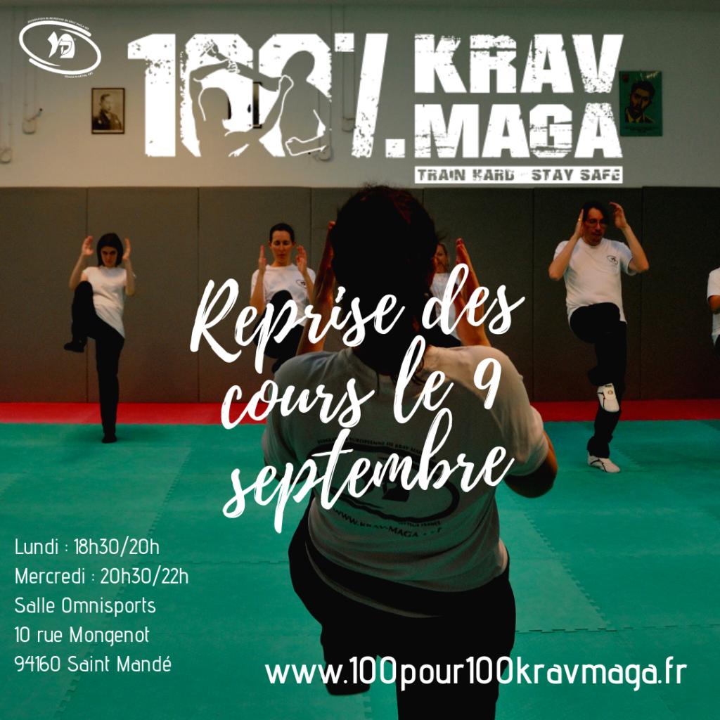 Flyer reprise des cours le 9 septembre 100pour100kravmaga